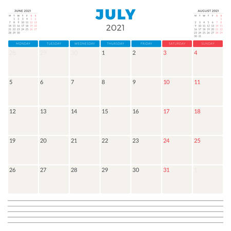 Calendar planner for July 2021. Week starts on Monday. Printable vector stationery design template