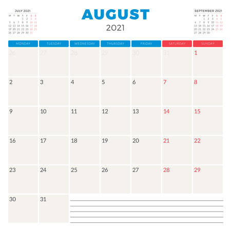 Calendar planner for August 2021. Week starts on Monday. Printable vector stationery design template 矢量图像