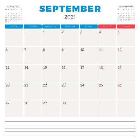 Calendar planner for September 2021. Week starts on Monday. Printable vector stationery design template