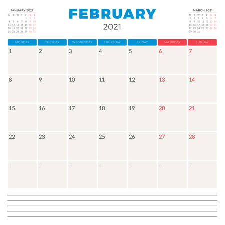 Calendar planner for February 2021. Week starts on Monday. Printable vector stationery design template 矢量图像