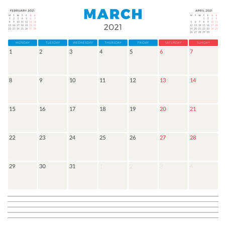 Calendar planner for March 2021. Week starts on Monday. Printable vector stationery design template