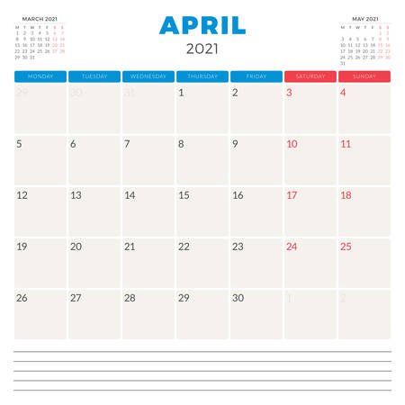 Calendar planner for April 2021. Week starts on Monday. Printable vector stationery design template 矢量图像