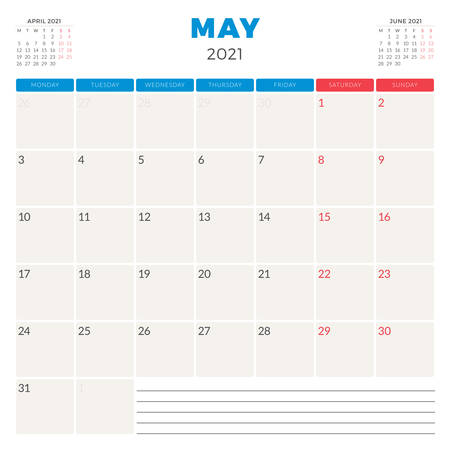 Calendar planner for May 2021. Week starts on Monday. Printable vector stationery design template