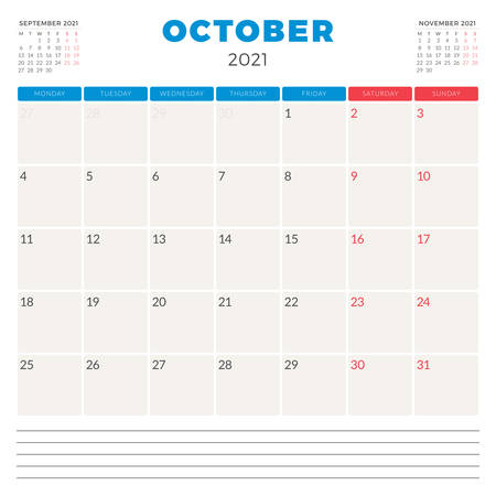 Calendar planner for October 2021. Week starts on Monday. Printable vector stationery design template