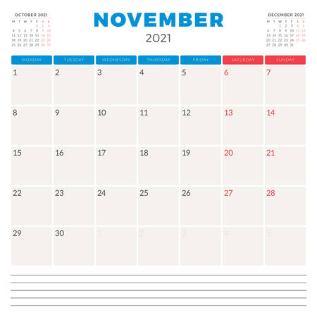 Calendar planner for November 2021. Week starts on Monday. Printable vector stationery design template 矢量图像