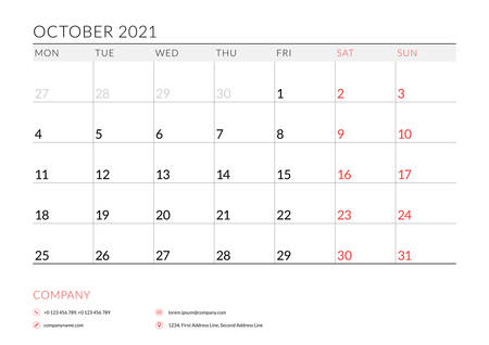 October 2021. Monthly calendar planner printable template. Vector illustration. Week starts on Monday 矢量图像