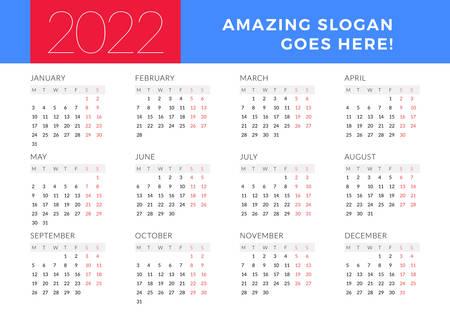 Calendrier pour l'année 2022. La semaine commence le lundi. Modèle de conception de papeterie vectorielle imprimable