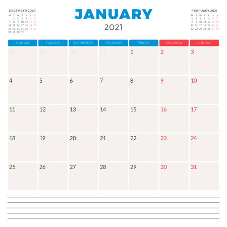 Calendar planner for January 2021. Week starts on Monday. Printable vector stationery design template 矢量图像
