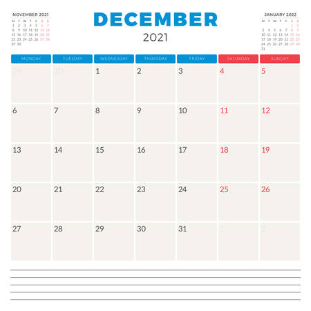 Calendar planner for December 2021. Week starts on Monday. Printable vector stationery design template