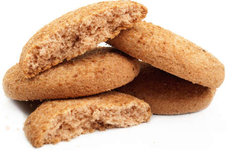 many delicious cookies on a white background photo