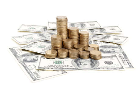 dolar: one hundred dolar and pile of coins Stock Photo