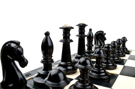 chess on the board isolated on a white background