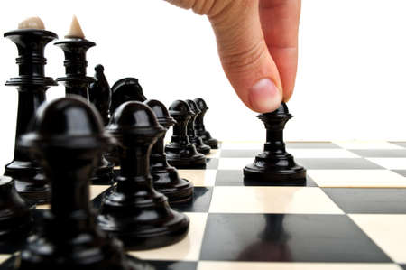 man playing chess and board isolated on a white background
