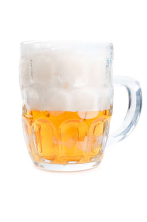 foamy: half-full glass of beer isolated on a white background