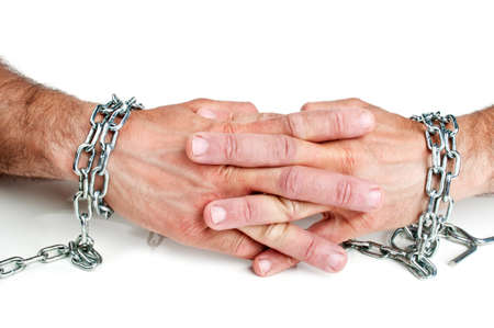 Hands in chain isolated on a white background Stock Photo - 9857006