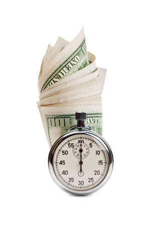 stopwatch and dollar isolated on a white background photo