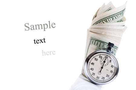timely: stopwatch and dollar isolated on a white background