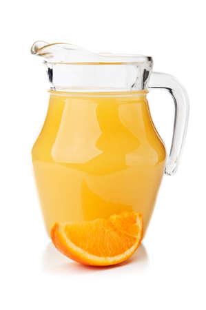 fresh orange fruit and juice isolated on a white background Stock Photo