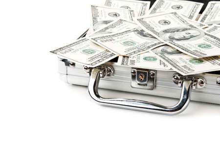 suitcase full of dollars isolated on a white background Stock Photo - 11067639