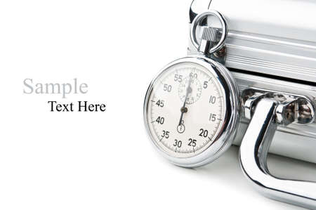 stopwatch and case isolated on a white background photo