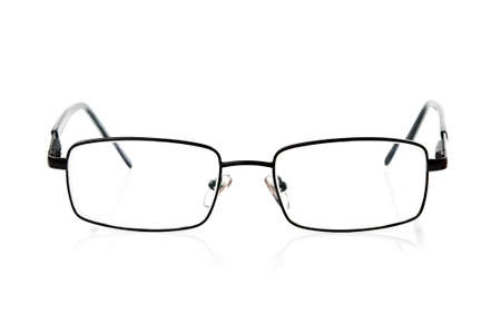 nearsighted: black style eyeglasses isolated on a white background Stock Photo