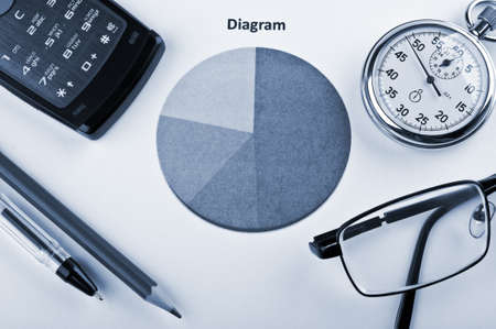 business objects and finance diagram on a table in office photo