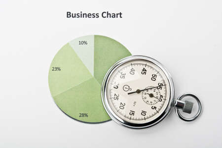 profiting: clock and financial growth chart on the table in the office Stock Photo