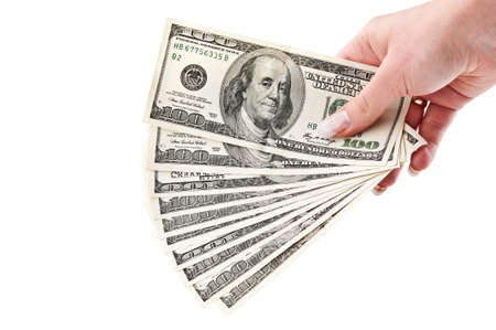 give money: bundle of dollars isolated on a white background