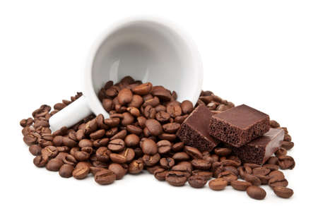 coffee beans and chocolate isolated on a white background photo