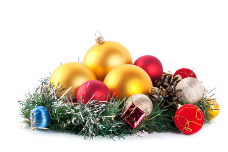 composition of the christmas balls isolated on a white background photo