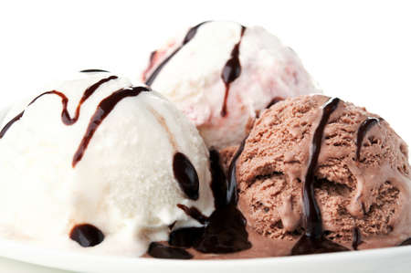 sweetly: ice cream with chocolate isolated on a white background