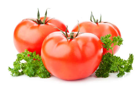 fresh red tomato isolated on a white background photo