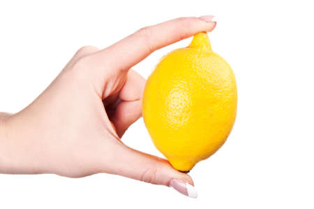 woman holding a lemon isolated on a white background