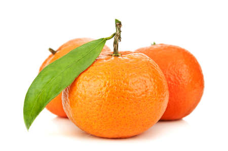 fresh orange mandarins isolated on a white background