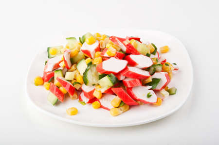 fresh vegetable salad on a white plate Stock Photo - 12629097