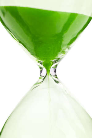 period of time: macro photo of hourglass isolated on a white background Stock Photo