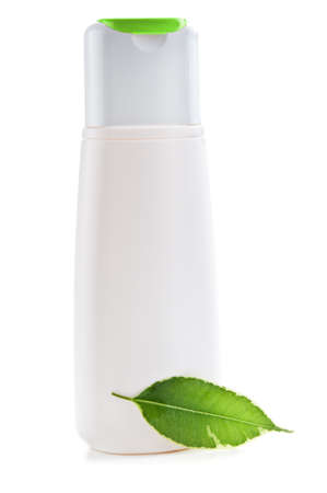 herbal shampoo bottle isolated on a white background photo