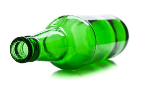 green and glass bottle isolated on a white background Archivio Fotografico