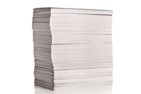 stack of white paper isolated on a white background photo