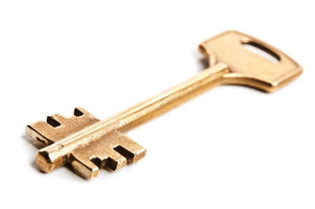 gold key isolated on a white background Stock Photo - 13507485