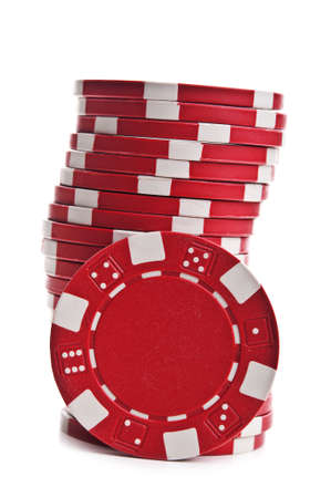 poker chips isolated on a white background Archivio Fotografico