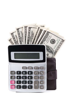 calculator and dollars isolated on a white background Stock Photo - 13507916