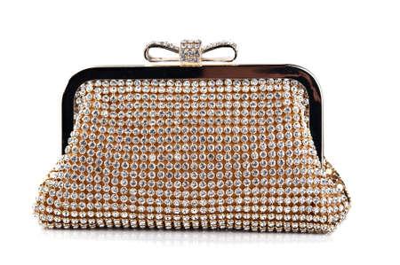 흰색 배경에 고립 된 매력적인 여자의 핸드백