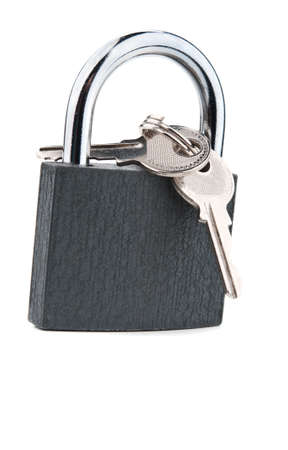 metal lock and keys isolated on a white background Stock Photo - 13509011