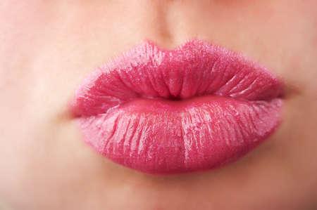 아름다운 여자 입술 배경의 근접 촬영