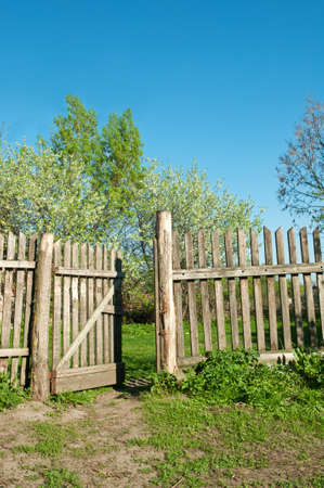 old fence on a farm in the village photo