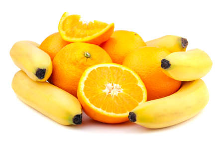 fresh orange and banana isolated on a white background photo