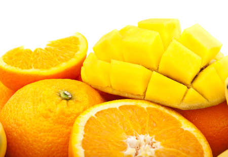 fresh orange and mango isolated on a white background photo