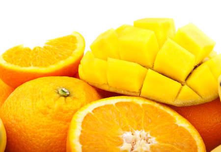 fresh orange and mango isolated on a white background photo