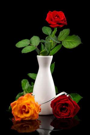 beautiful roses in vase on black background photo